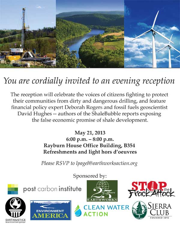 Reception featuring ShaleBubble report authors @ B-354 | Washington | District of Columbia | United States